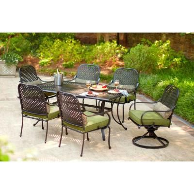 Hampton Bay Fall River Piece Patio Dining Set With Moss Cushion