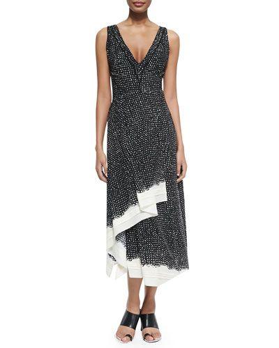 Proenza Schouler Sleeveless Dotted PrintRuffle-Hem Dress