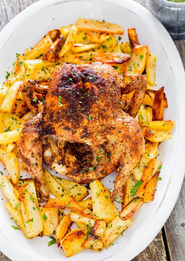 Roast Chicken with Roasted Potatoes and garlic sauce - an all time favorite Sund...  - Here, Chick