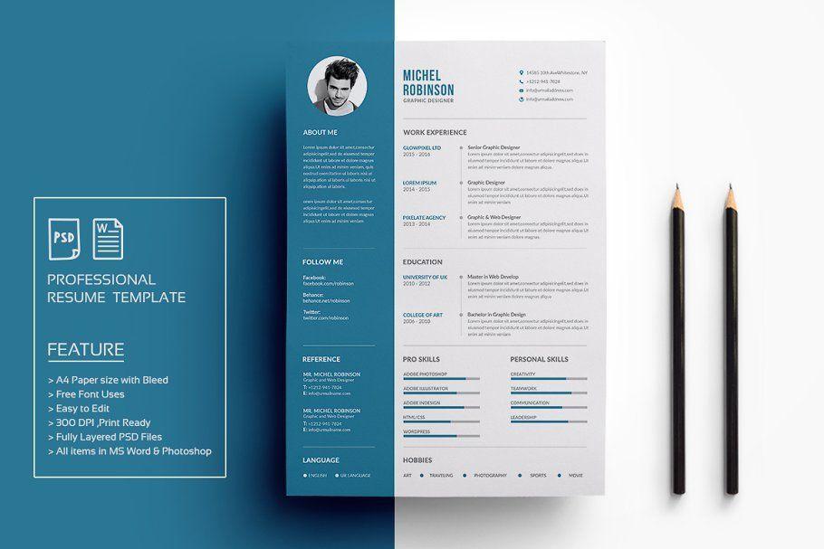 Resume Cv ResumeTemplate CleanResume CvTemplate