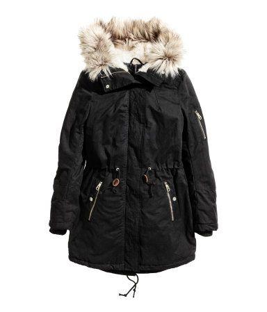 Padded Parka Black Ladies H M Us, H M Black Coat Fur Hood