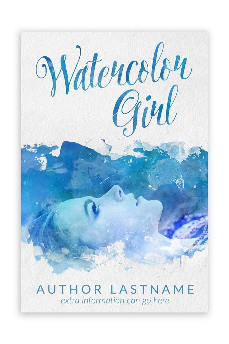 Blue Watercolor Girl Premade Book Cover Premade Book Covers