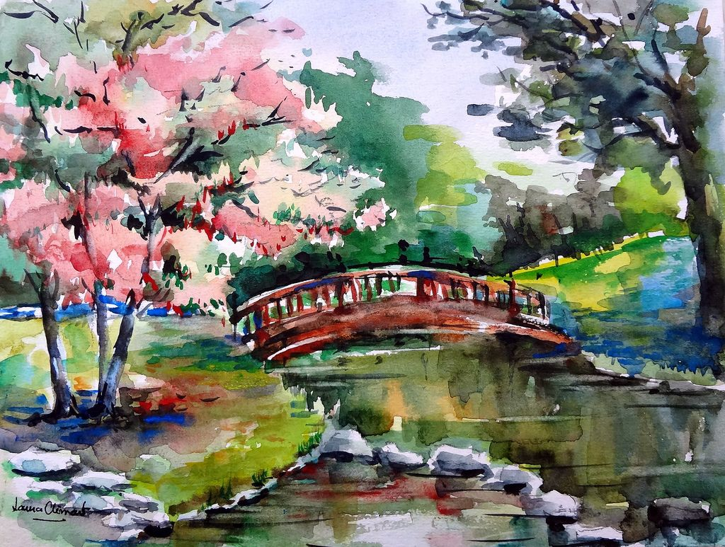 Japanese Landscape Watercolor By Laura Climent Japanese