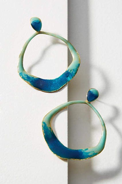 Anthropologie Reflecting Pool Circle Drop Earrings BciHGF