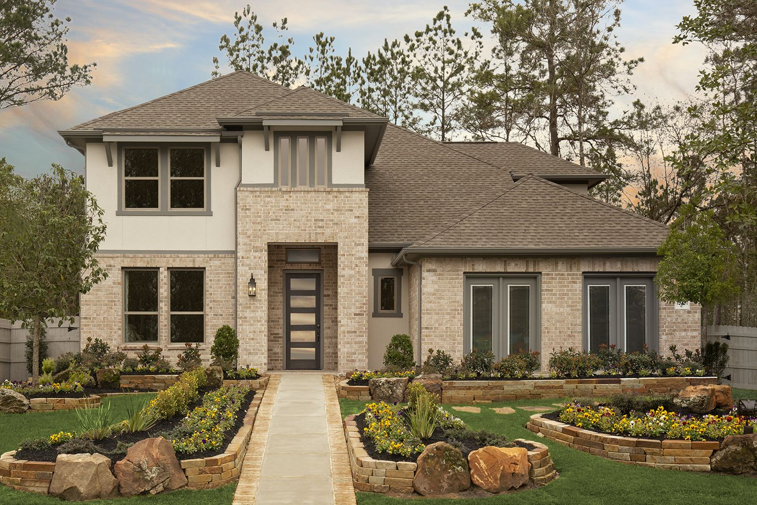Brick And Stucco Exterior Elevation In 2020 Coventry Homes Stucco Exterior Exterior