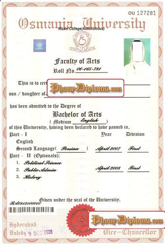 Osmania Diploma India Fake Diploma Sample From Phonydiploma  Http