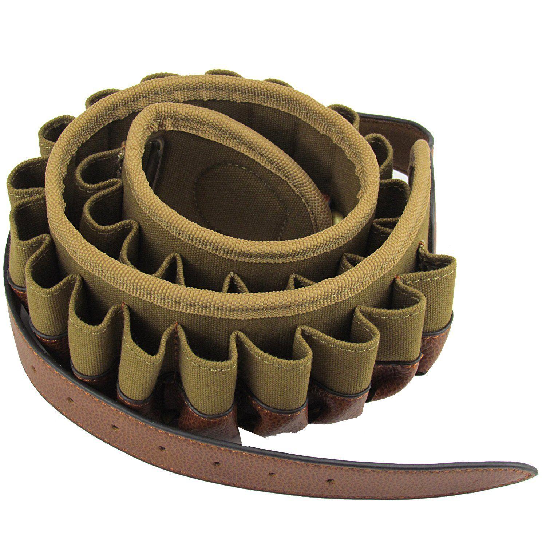Tourbon Cartridges Belt for 12GA Shells Holder Ammo Carrier Nylon//Canvas//Leather
