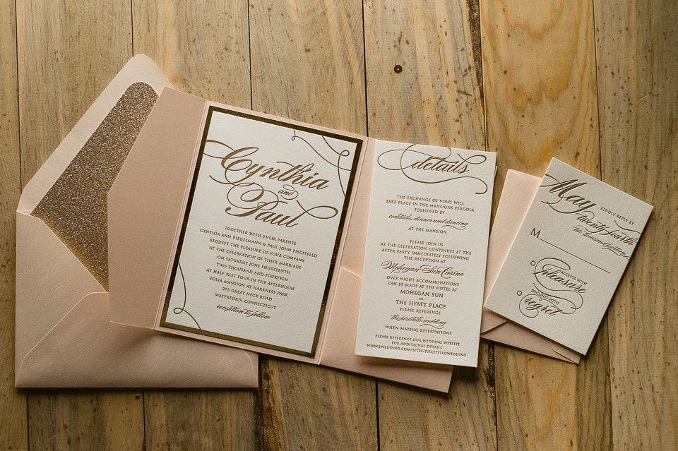 Cheap Wedding Pocket Invitations: LAUREN Suite Glitter Pocket Fold Package, Blush And Gold