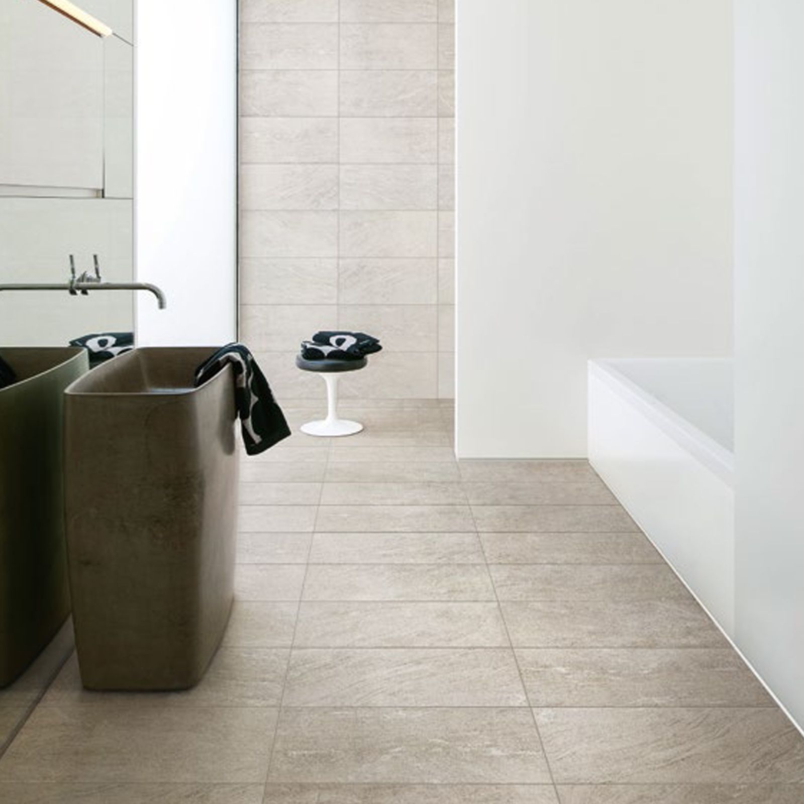 Modern minimal clean bathroom with tiles from Stone Wave collection ...
