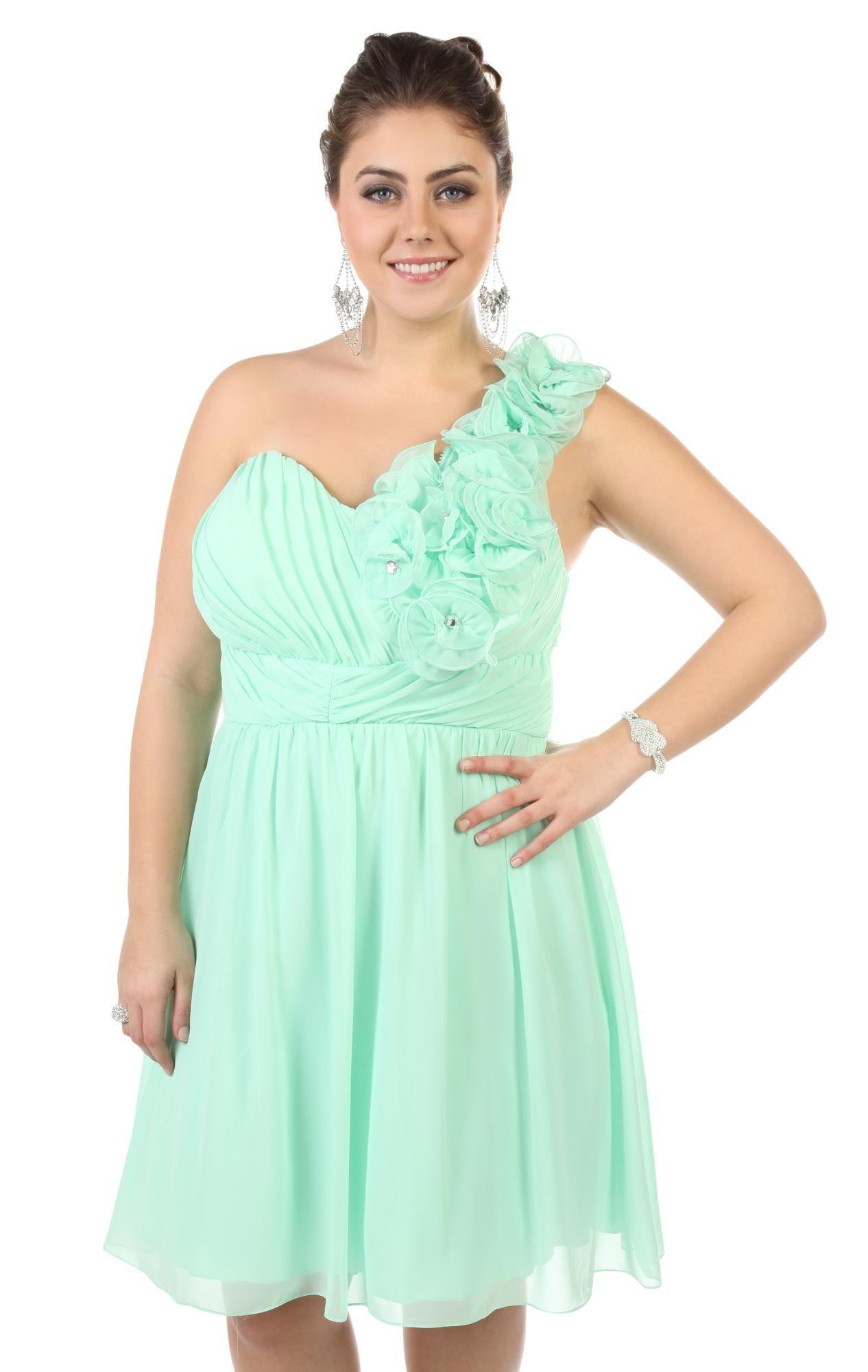 Deb Shops Mint Plus Size Floral One Shoulder Short Prom Dress