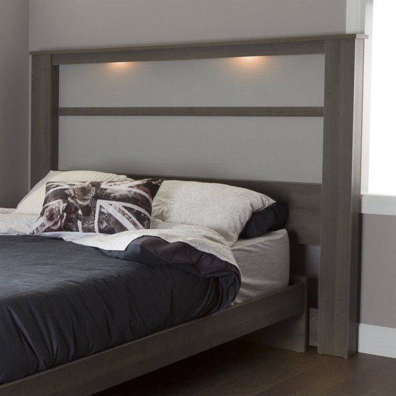 South Shore Gloria King Panel Headboard With Lights In Gray Maple