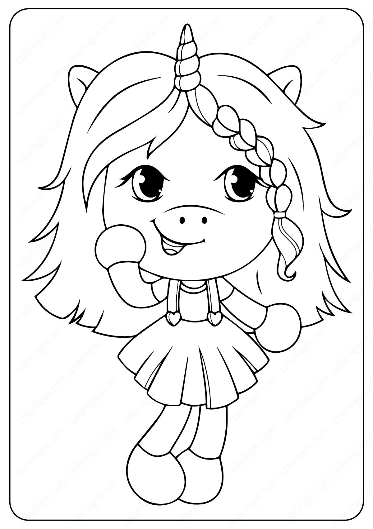 Unicorn Girl Coloring Page Unicorn coloring pages
