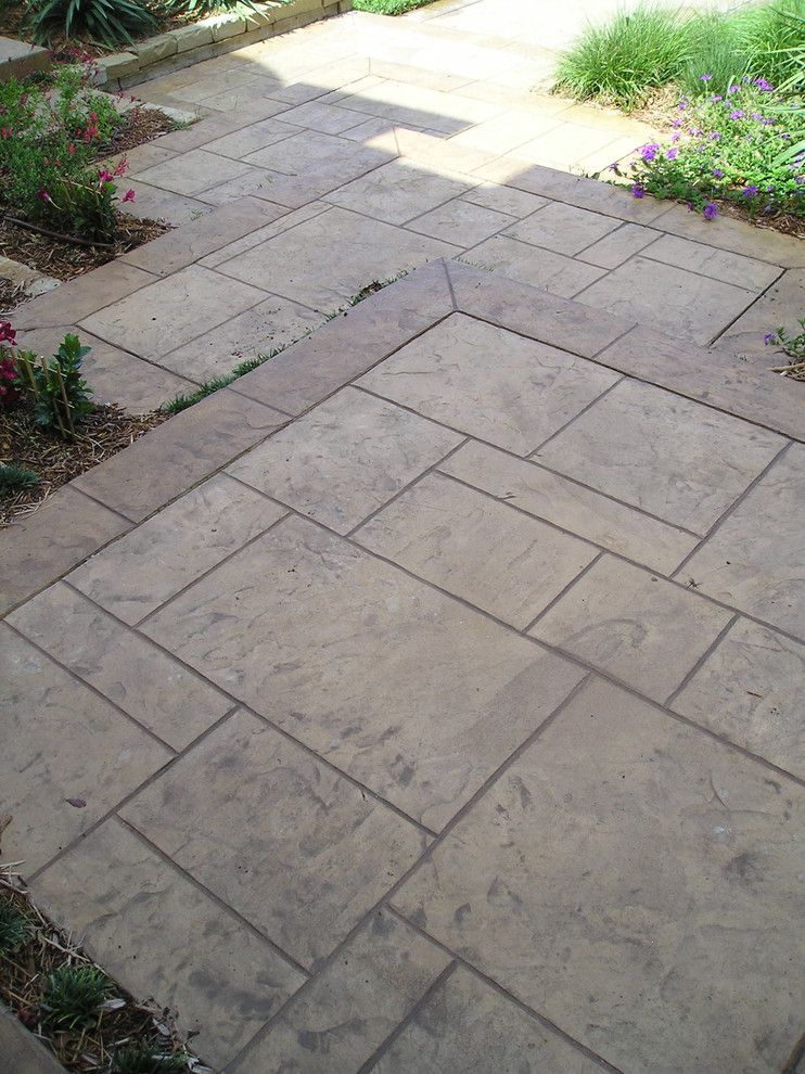 Cement Patio Designs Stained Concrete Floor Designs: Stamped Concrete Patterns Landscape Modern With Curb