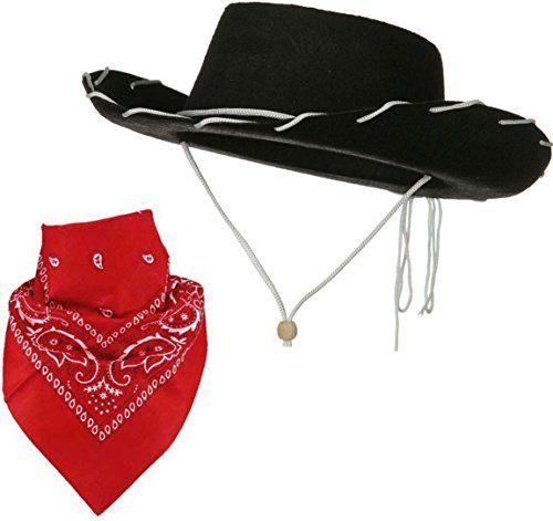 3b94d892 Quality Child Cowboy Costume Hat With *FREE* Cotton Paisley Bandanna - Funny  Party Hats TM (Black Felt Cowboy Hat with Red Paisley Bandana) * Be sure to  ...