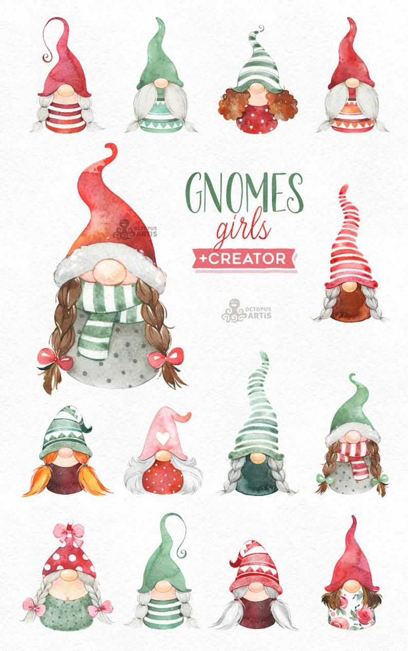 Gnomes Girls Creator Watercolor Holiday Clipart Nordic Christmas Winter Cards Nursery Art Scandinavian Gnomies Fun Customize In 2020 Holiday Clipart Gnomes Crafts Christmas Art