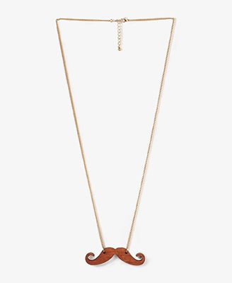 Wooden Mustache Necklace #Forever21 #Charm #Necklace #Wooden #Mustache