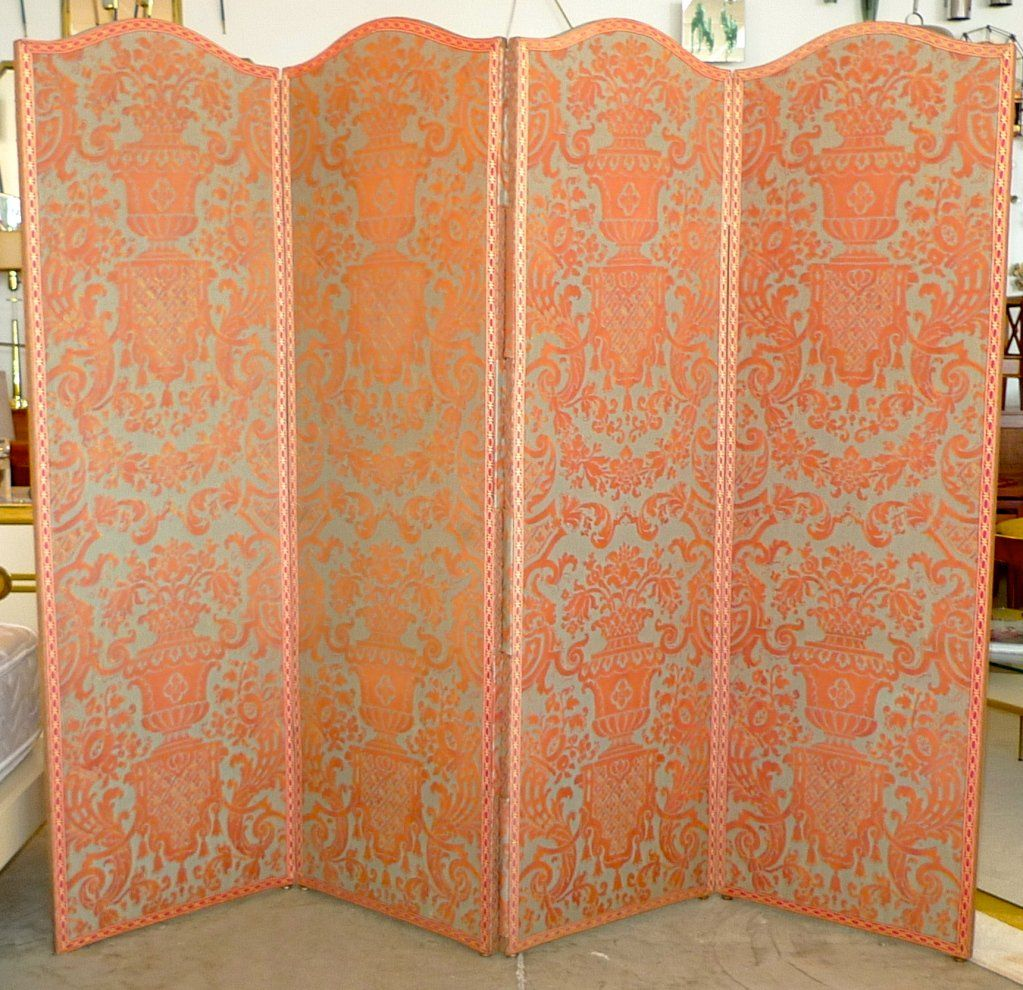 Vintage Fortuny 'Carnavalet' 4 Panel Double Sided Screen 1940