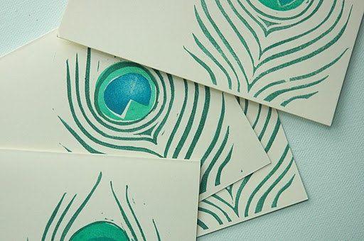 peacock block print cards