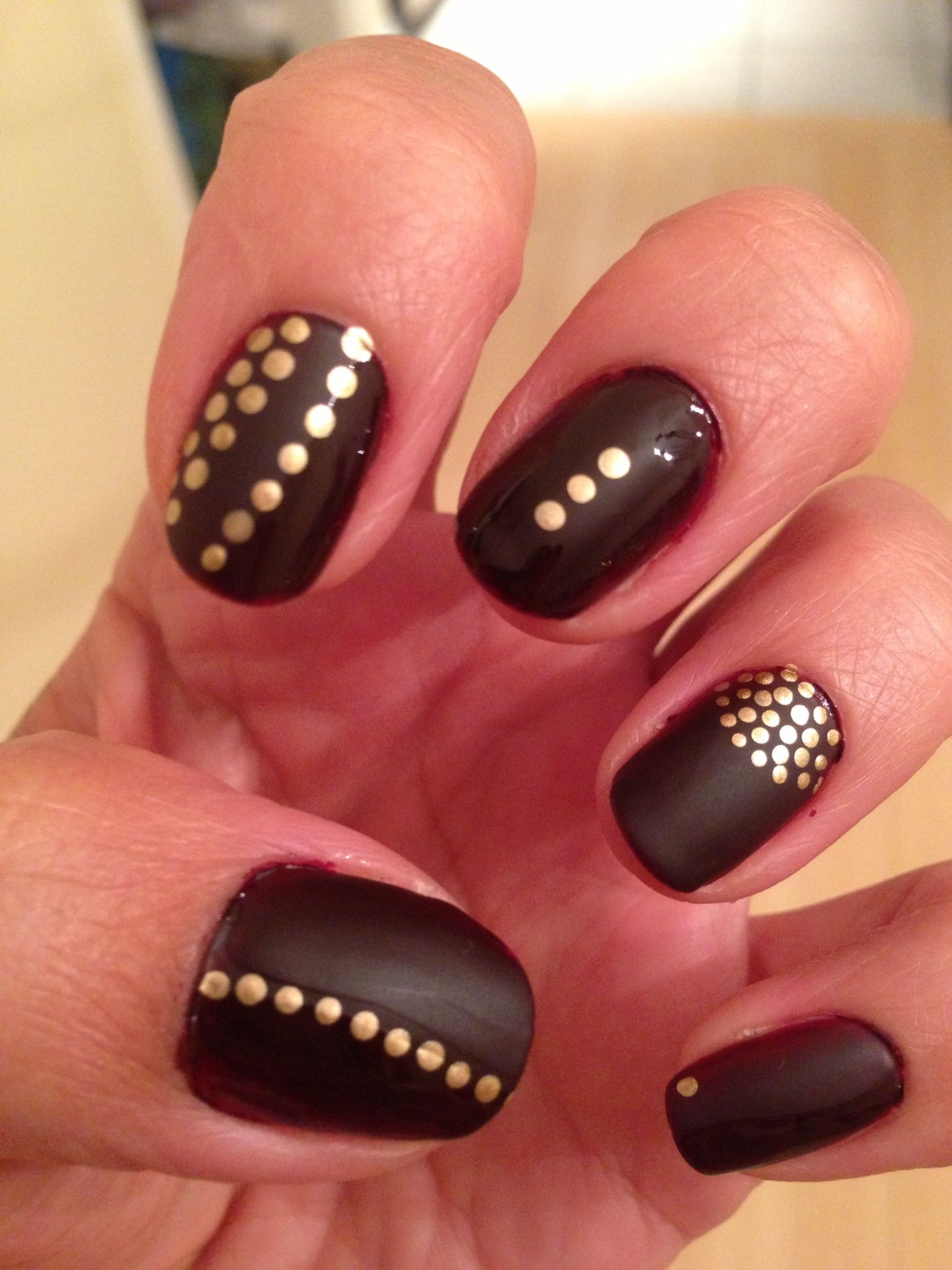 More accent options...Dark wine Matt nail polish gold. I have these ...