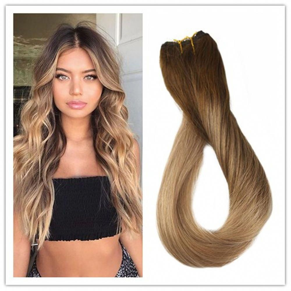 Flip Extensions Invisible Fish Line Remy Human Hair Color 4/10/16 Hairpieces