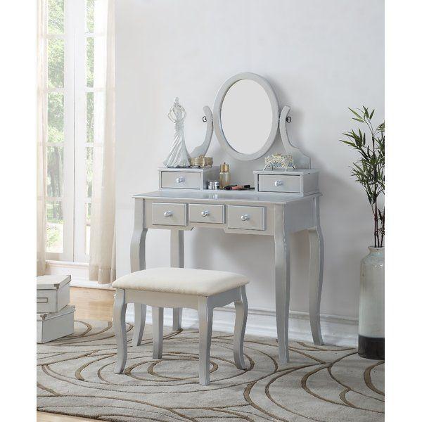 courts wood makeup vanity set with mirror joss main domus rh pinterest com