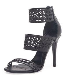 Triple-Band Laser-Cut Leather Sandal, Black
