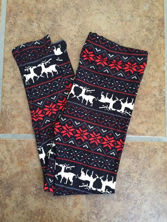 26fcfb54cb941 Girls Reindeer Leggings Kids Christmas Print Reindeer and Snowflake Leggings