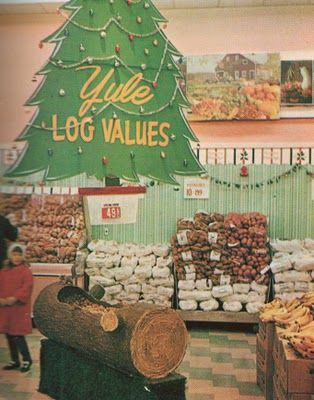 Yule Log display in the Big Bear Supermarket, Columbus, Ohio, 1960s