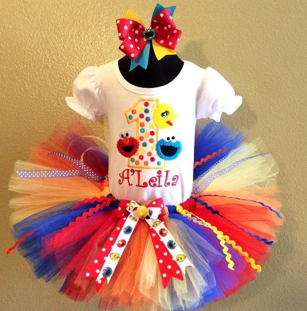 Cake smash outfit Handmade custom set to your theme and colors Seasame Street Elmo 1st birthday tutu set 2nd birthday girl outfit