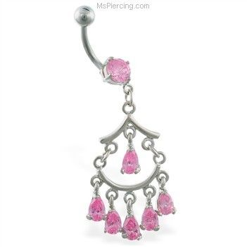 0321416c7 Chandelier belly button ring with dangling stones #mspiercing #piercings