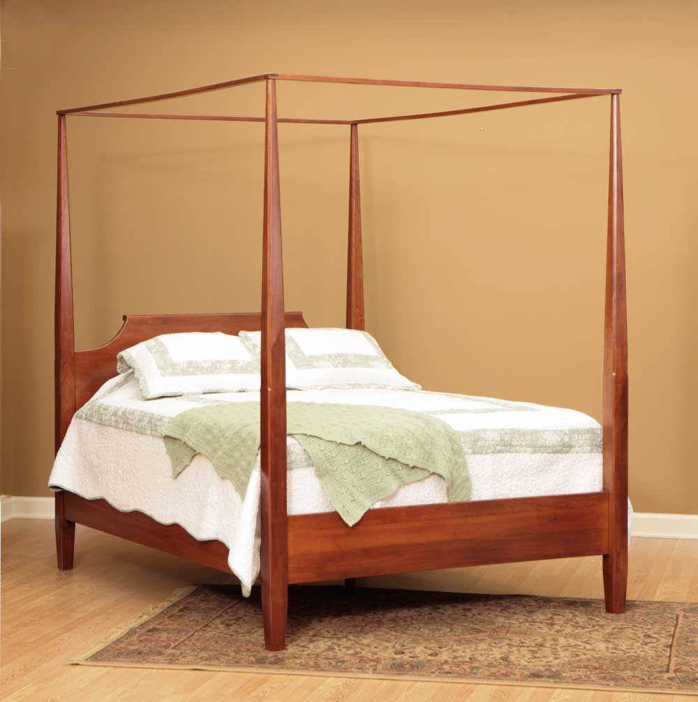 English Shaker Rustic Cherry Poster Canopy Bed | Amish Furniture ...