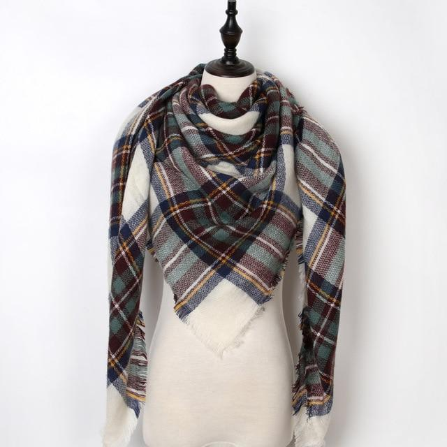 7382a4a0d MIK Triangle Warm Plaid Scarf in 2019 | Products | Plaid scarf ...