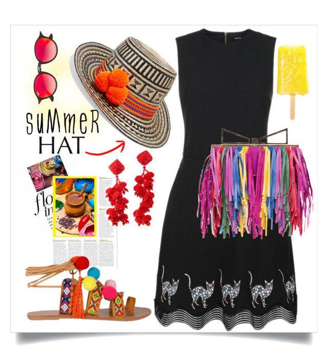 """Pompom Summer Hat"" by capricat ❤ liked on Polyvore featuring YOSUZI, Markus Lupfer, Sara Battaglia, Sachin + Babi, Ray-Ban and summerhat"