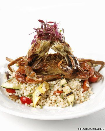 Israeli Couscous Salad with Grilled Summer Vegetables~ Martha Stewart