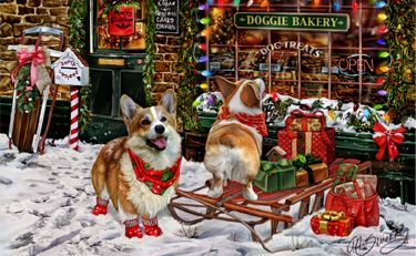 Corgi Christmas Shopping by Margaret Sweeney Z