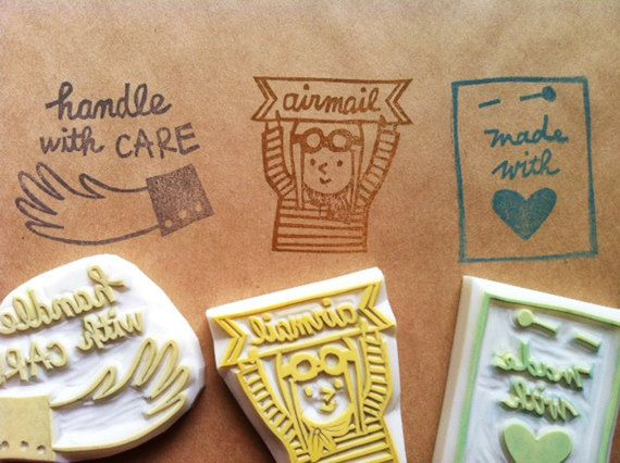 Snail Mail Rubber Stamp Set Handle With Care Stamp