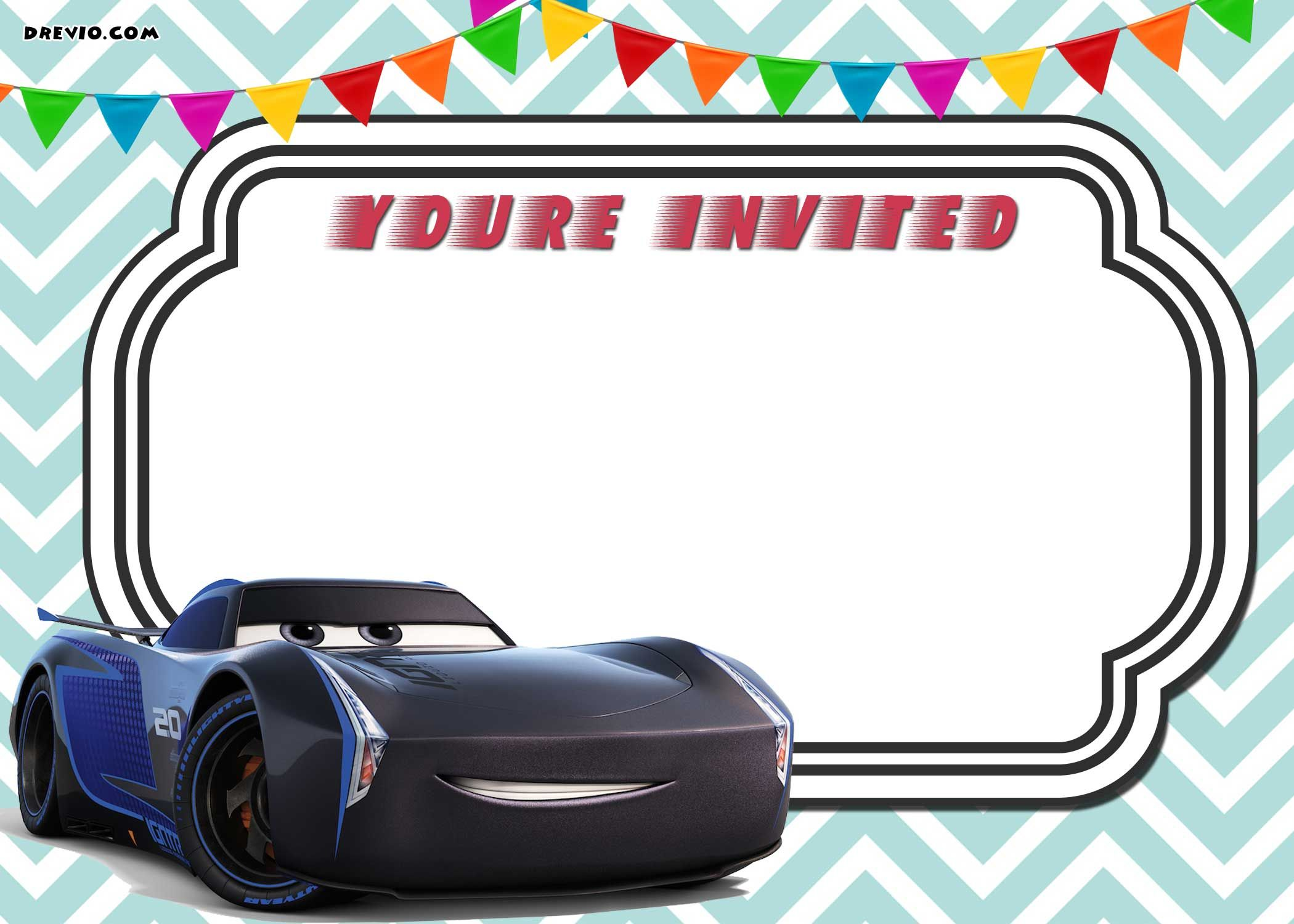 FREE Printable Cars 3 Lightning McQueen Invitation Template ...