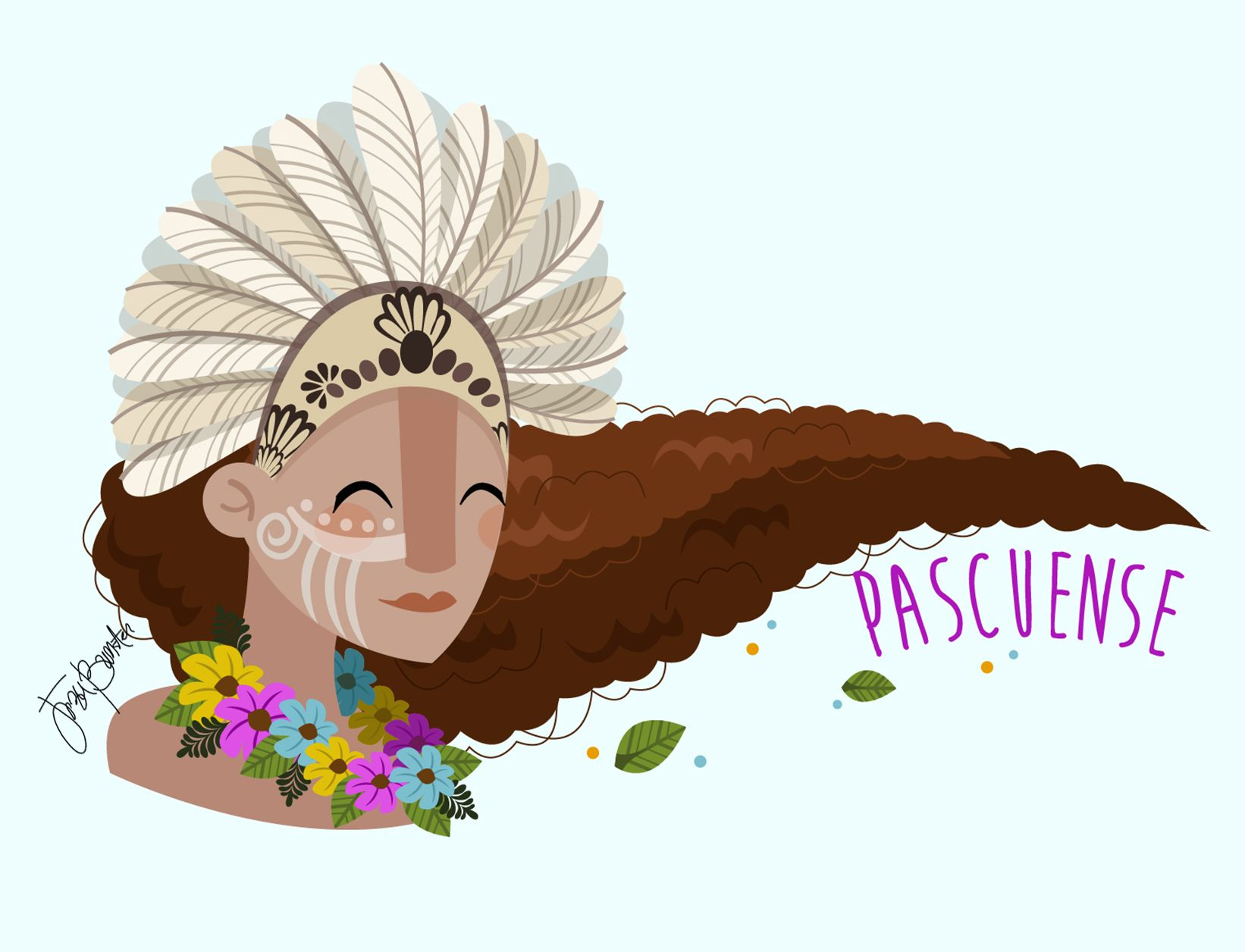 Jezu Bunster Illustrations Design Mujer Indigena PASCUENSE