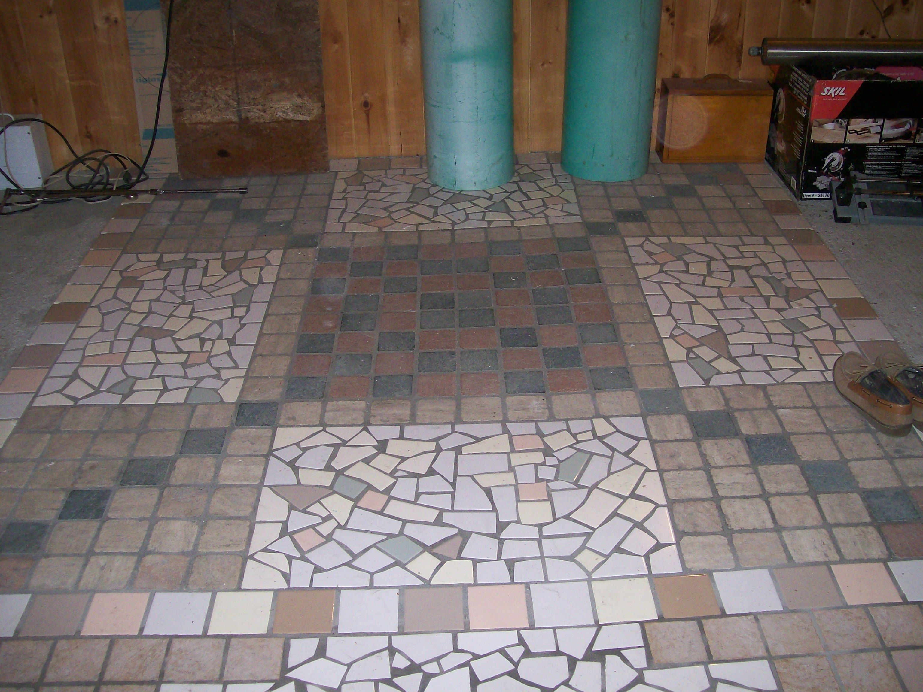 Beautiful And Artistic Floor Made From Leftover And Broken Ceramic Tile Amazing Artistic Ability Interior Stair Railing Flooring Mosaic Flooring