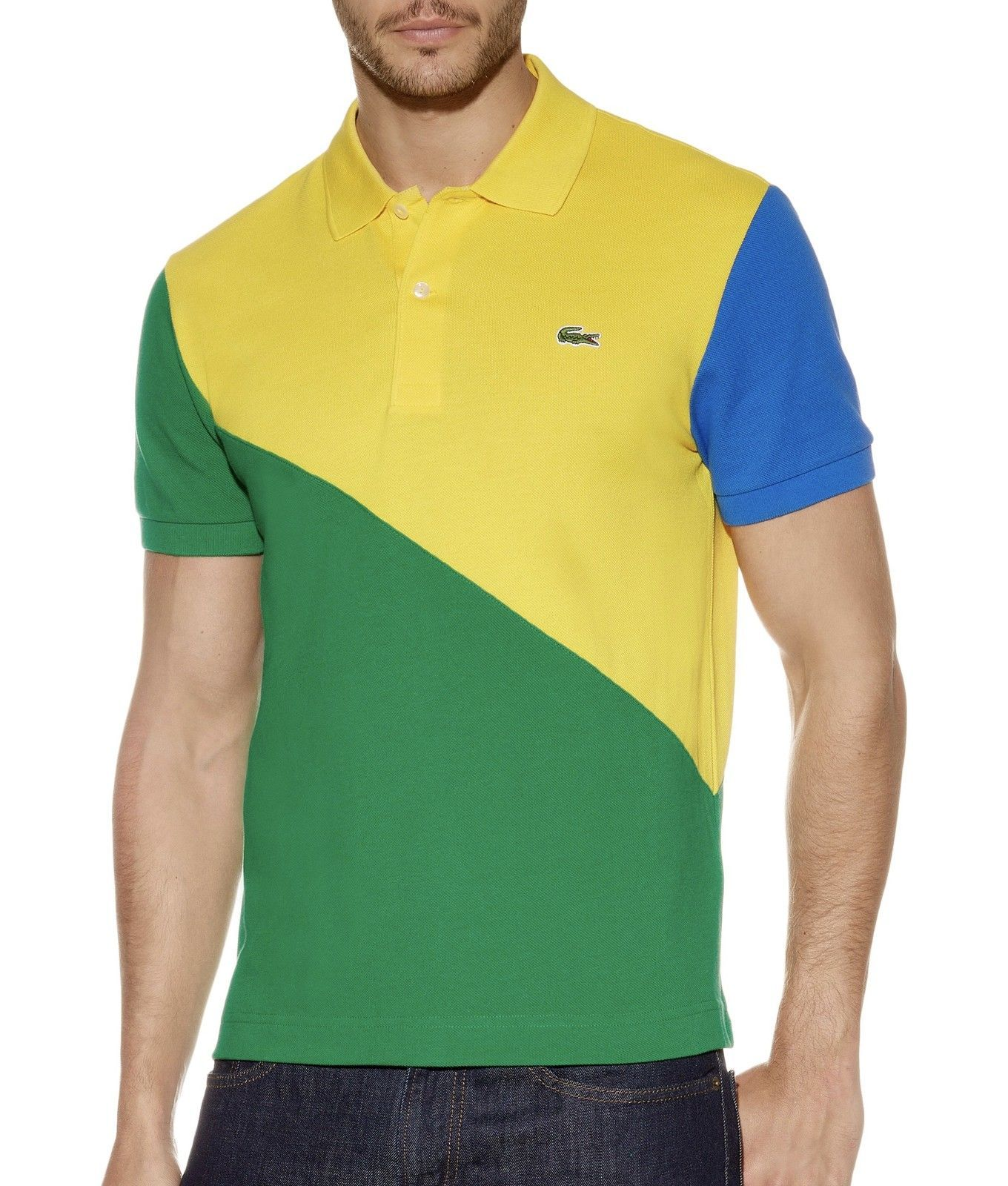 New Lacoste Mens Athletic Premium Cotton Polo Shirt T Shirt Brazil Logo Polo Shirt Cotton Polo Shirt Cotton Polo