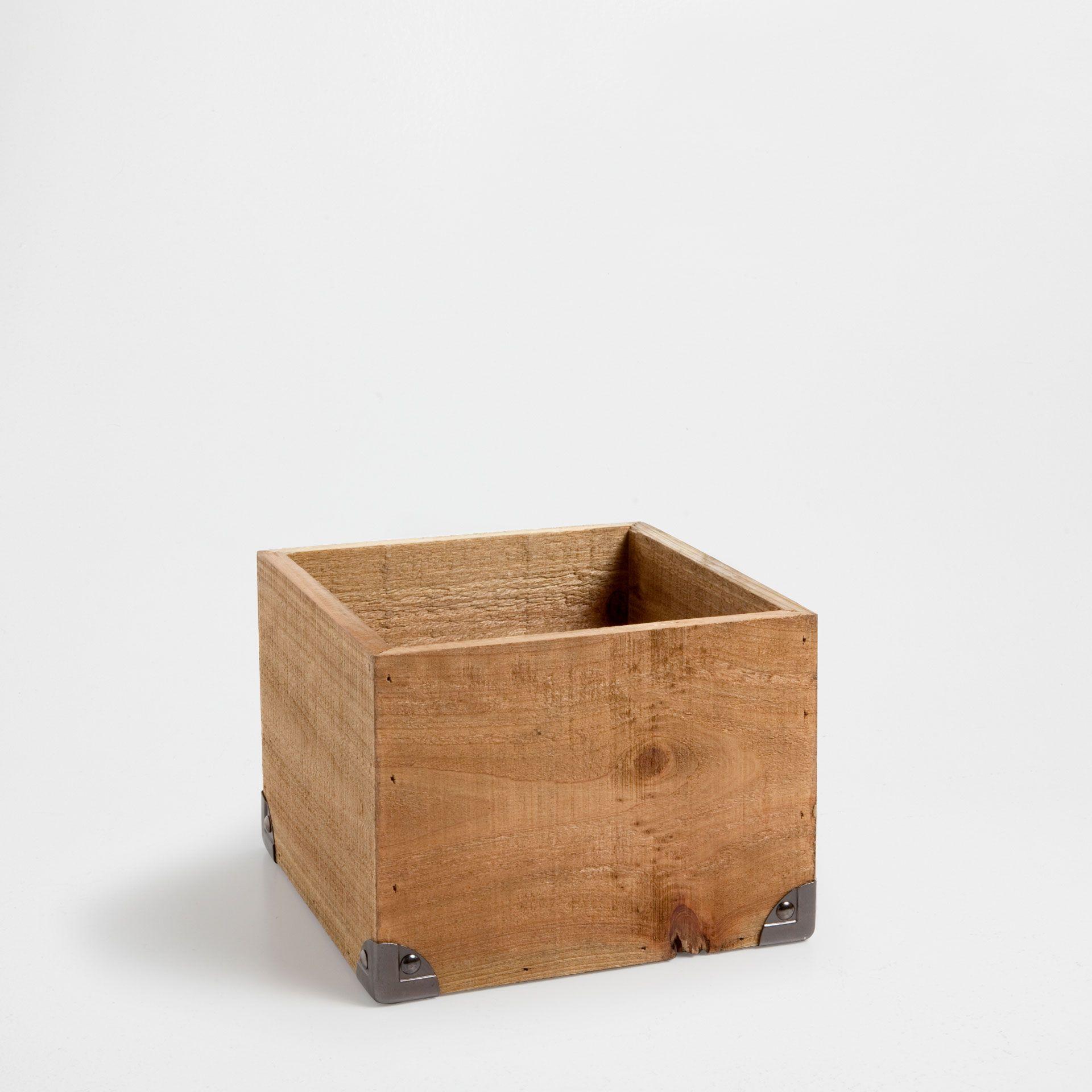 WOOD BOX WITH METAL CORNERS   Baskets   Bathroom | Zara Home United Kingdom