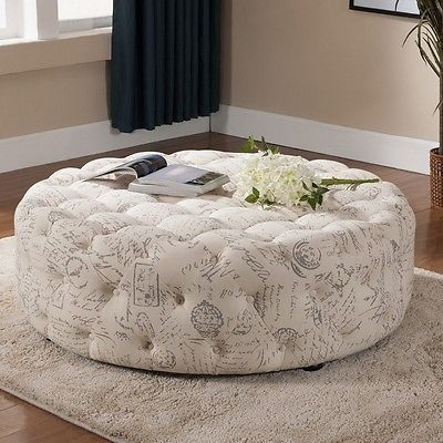 47 Large Linen Tufted Round French Laundry Script Ottoman Modern Coffee Table Modern Coffee