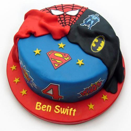 Write Name on Vanilla Sponge Superhero Birthday Cake