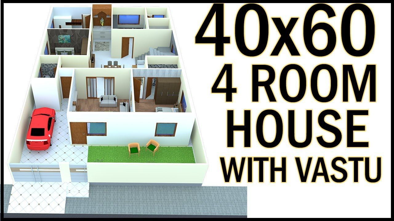 "40 0""x60 0"" 3D House Plan 40x60 West Facing House Plan With Vastu"