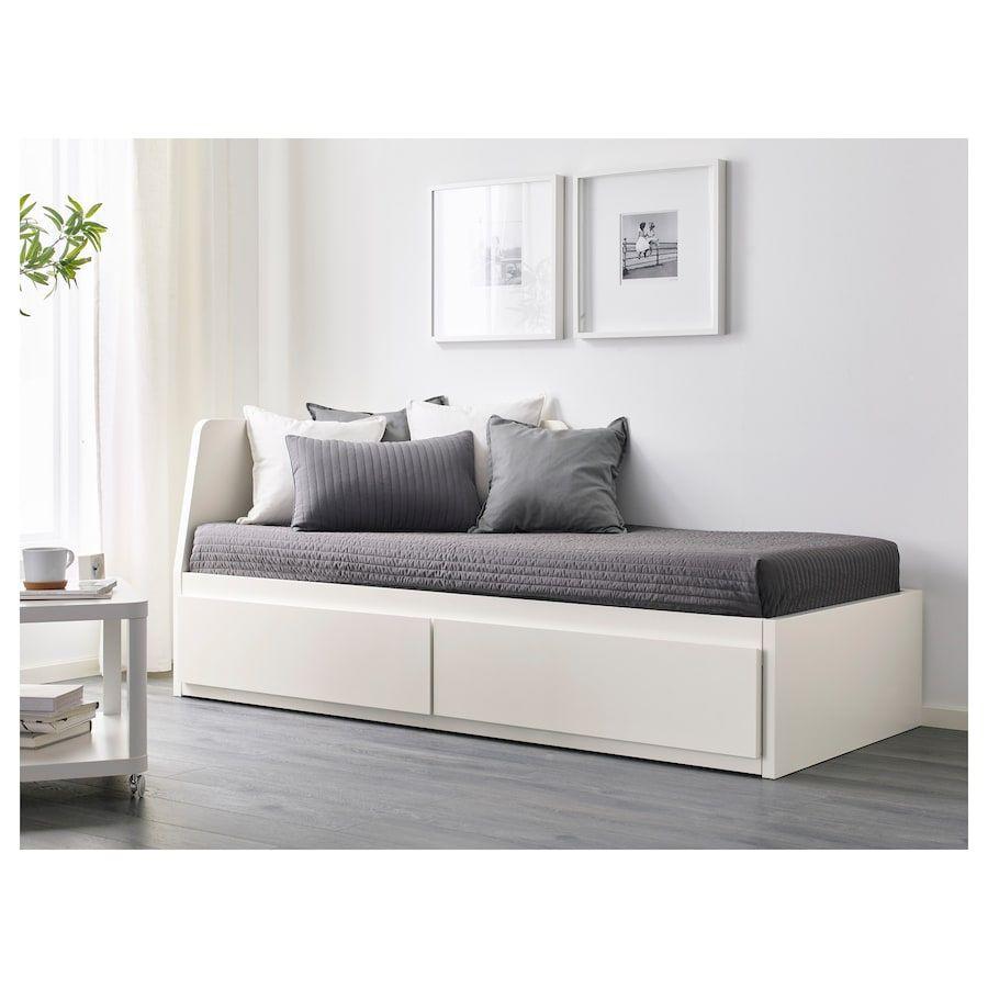 Flekke Lit Banquette 2p Struct Matelas Blanc Malfors Ferme 80x200 Cm Ikea Day Bed Frame Ikea Flekke Bed Frame