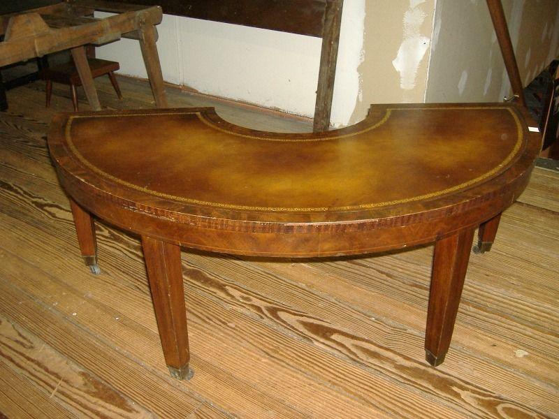 Mahogany Leatherette Horseshoe Coffee Table Vintage Drop Leaf