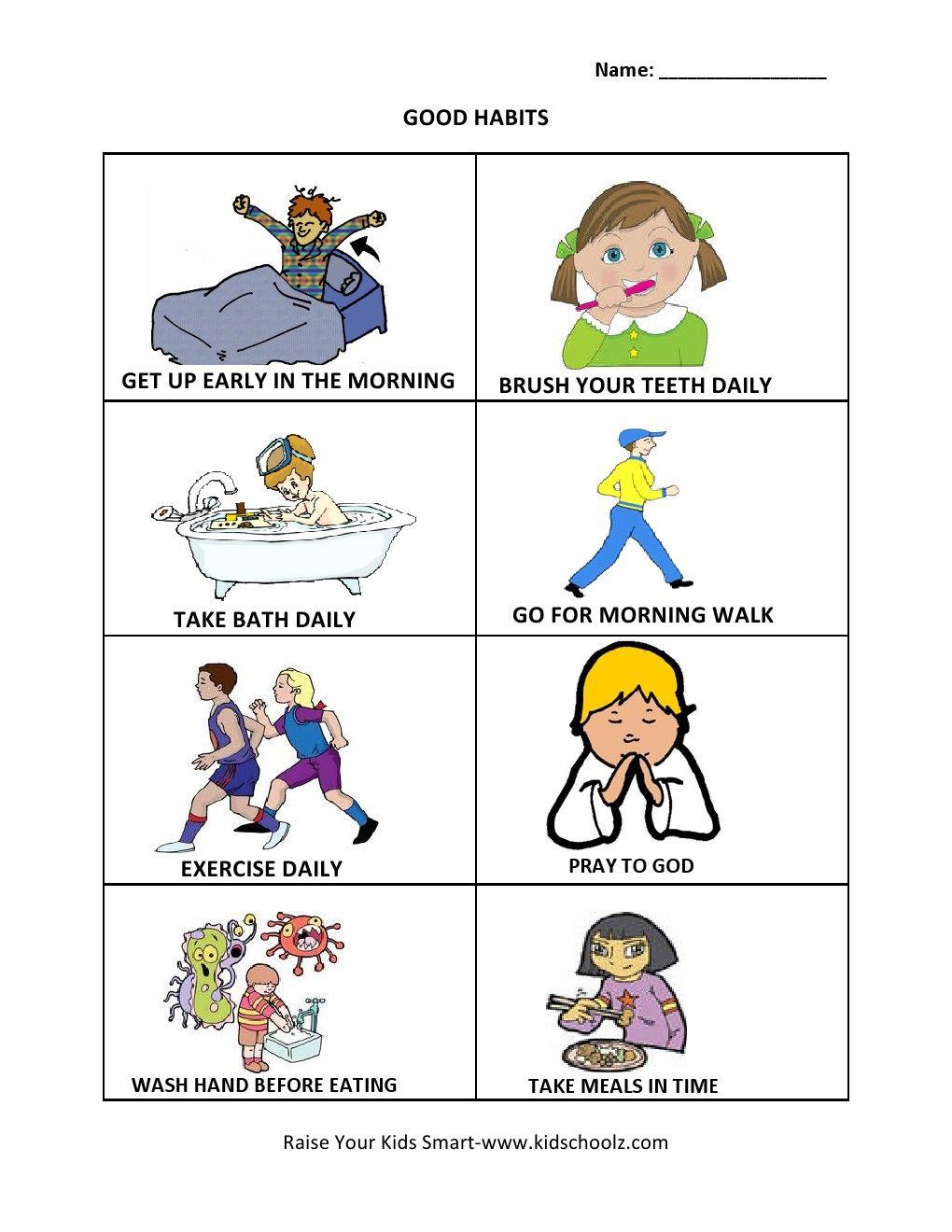 Grade 1 Good Habits Worksheet Healthy habits for