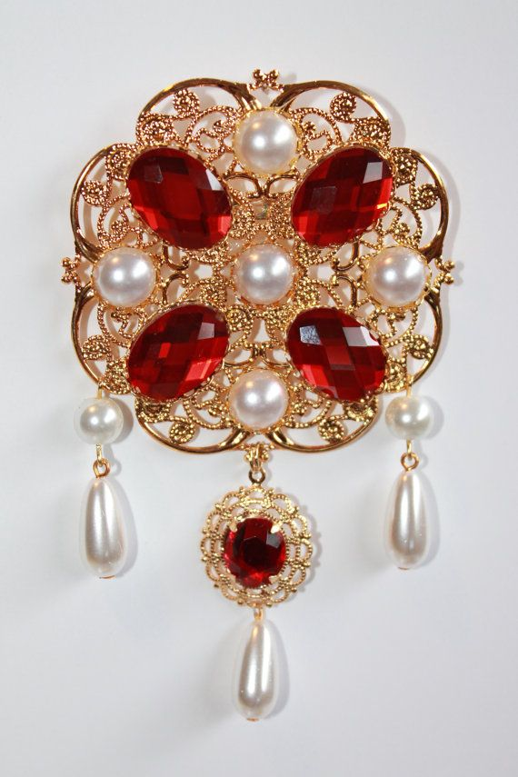 Ruby Red and Pearl Tudor Brooch Renaissance Medieval Jewelry Pin ... 17e6b20469