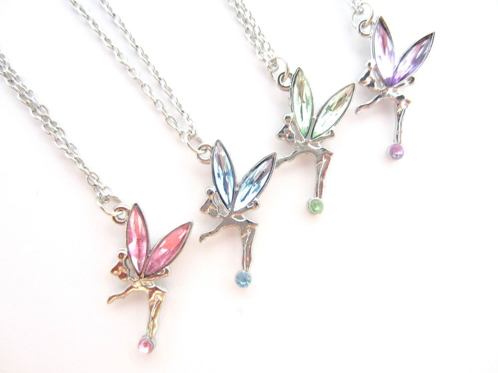 Fairy pendant necklace chain tinkerbell design with coloured crystal wings