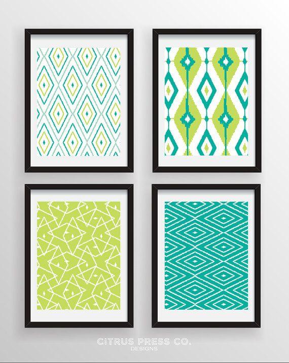 Modern Ikat Pattern Prints Collection  Set by CitrusPressCoDesign, $35.00